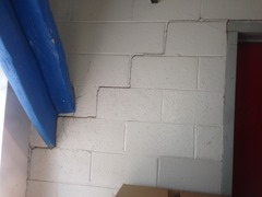 Stair-step cracking in bricks of the Cameron Cogeneration Plant pointed to settlement issues.