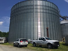 Grain bin at a Williamsburg, Virgina poultry processing facility that had foundation settlement issues