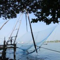 Did we catch anything? Fishing net action at Fort Kochi.