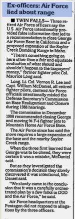 Ex-officers - Air Force lied about range