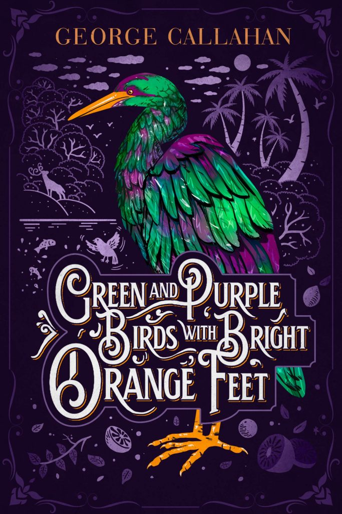 Green and Purple Birds with Bright Orange Feet