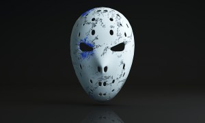 vintage hockey mask on black background. Front view. 3D illustration