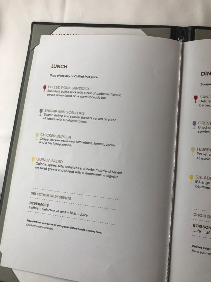 Menu layout for dinner