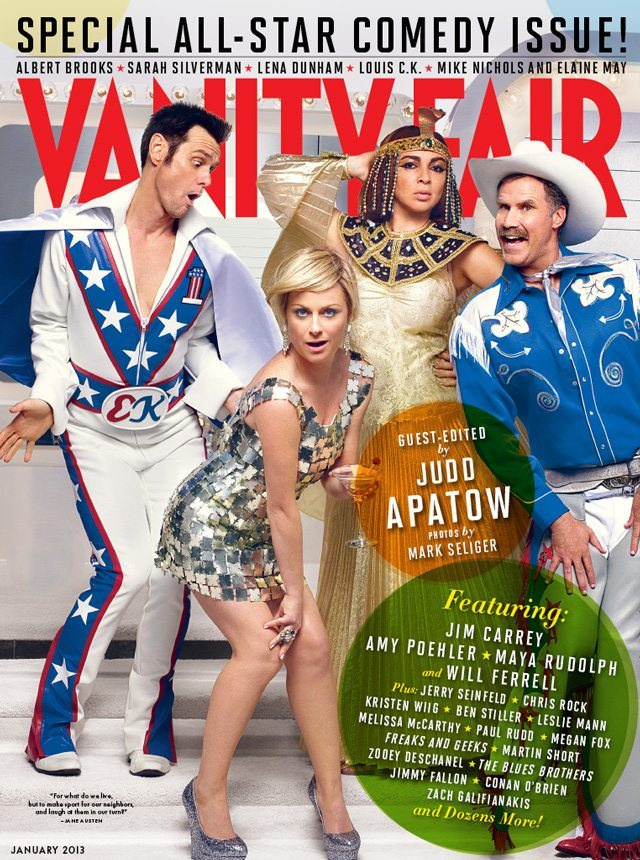 Vanity Fair Comedy Issue cover (1 of 3): Jim Carrey, Amy Poehler, Maya Rudolph and Will Ferrell. Photo by Mark Seliger