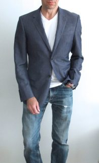 Custom jacket with a t-shirt and jeans.