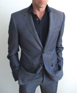 Custom suit with a polo shirt.