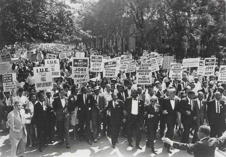 March on Washington for Jobs and Freedom: Martin Luther King, Jr. and Joachim Prinz.