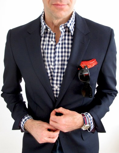 Closeup: Gingham shirt and bandana pocket square.