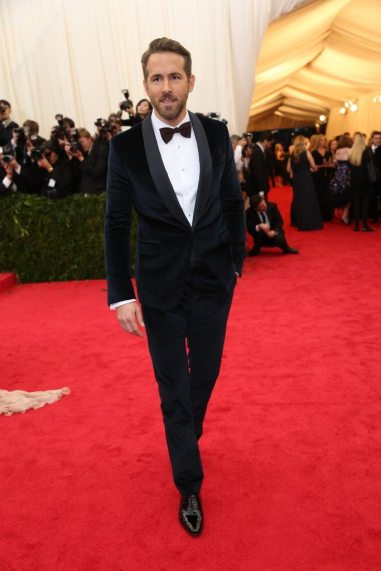 Ryan Reynolds in deep red velvet.