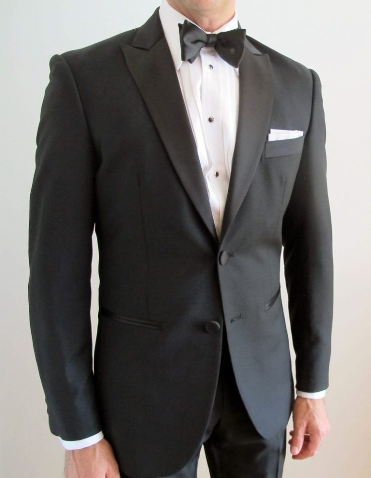 My black dinner jacket with peak lapels.