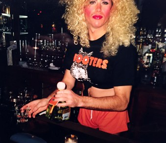 A dangerously close shot of a cheap whore behind the bar at Film Center Cafe in 1998.