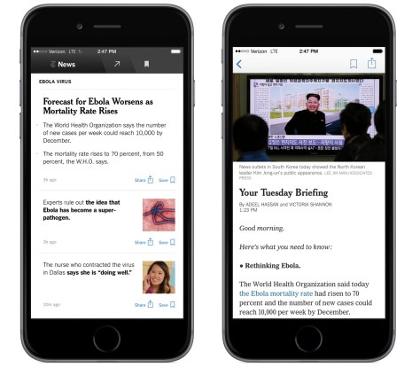 The NYT Now app for iPhone