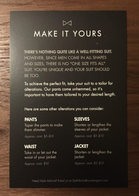 A card detailing how to go about fitting/tailoring your new clothes.