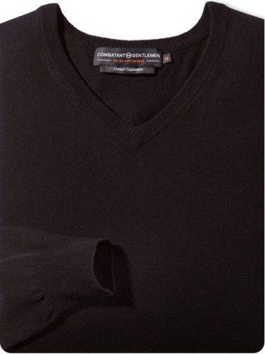 Black V-Neck Cotton-Cashmere Sweater