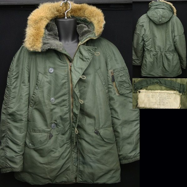 An original U.S. Air Force N-3B parka from the 1960s with a nylon shell and real fur hood trim from vintagetrends.com.