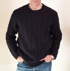 Shetland wool fisherman's sweater (blue).