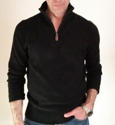 Slim lambswool half-zip sweater (black).