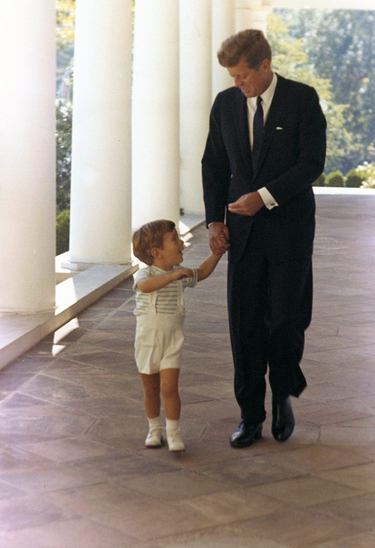 President Kennedy and his son, John F. Kennedy Jr. at the White House.