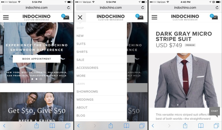 Current mobile: home page, menu rollout, suit page.