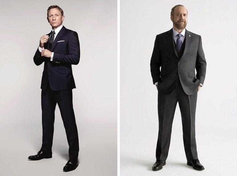 Daniel Craig, left, in a publicity photo for SPECTRE (MGM); Paul Giamatti for Billions (Showtime).