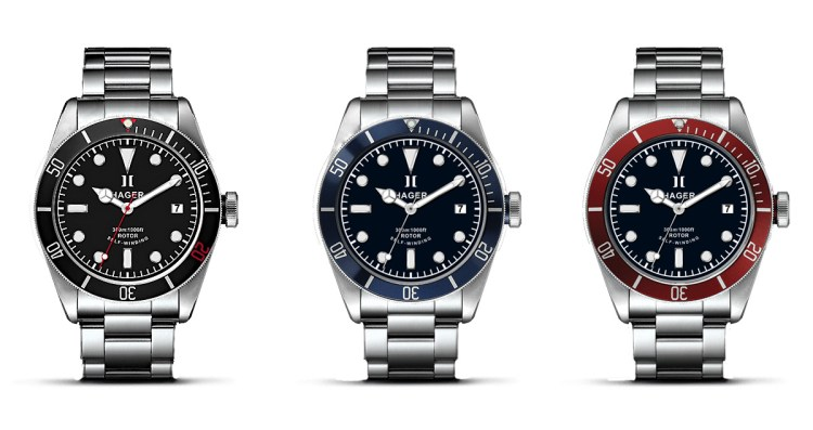 The Hager Aquamariner with a matte black, matte midnight blue or matte burgundy bezel.