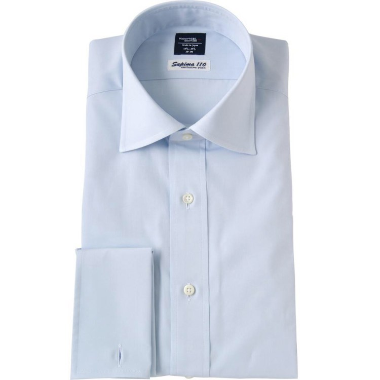"""""""New York Slim"""" fit in light blue broadcloth from Kamakura Shirts."""