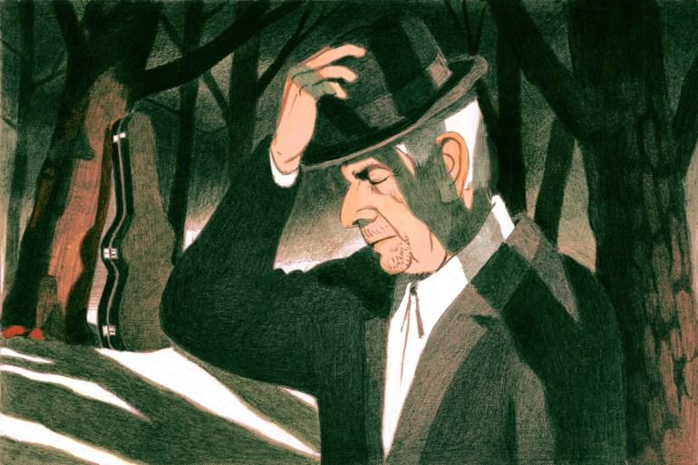 Illustration of Leonard Cohen by Antoine Maillard for The New Yorker.