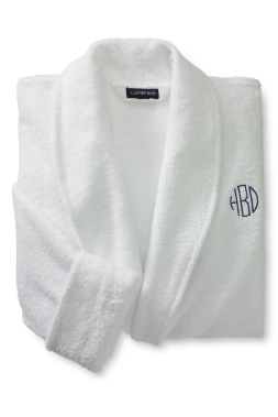 14-Ounce Calf-Length Turkish Terry Robe from Lands' End (with monogramming).