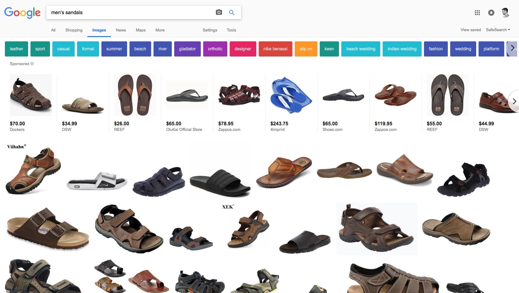 """203f36a75 Google image search results for """"men's sandals,"""" i.e. uglytown."""