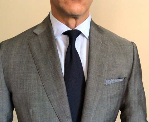 The new shirt under a suit.
