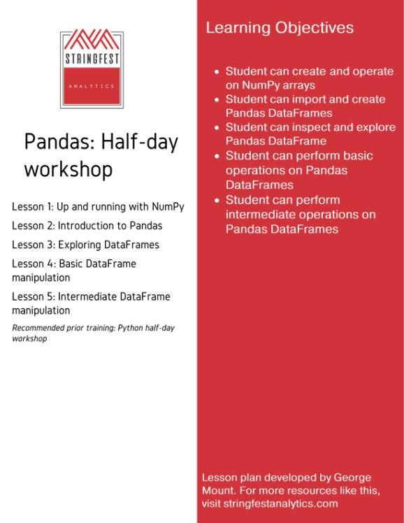 Introduction to Pandas workshop