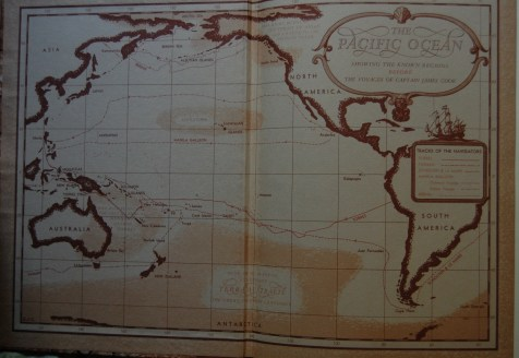 Front Endpapers - A nice map shows Cook's route in comparison to prior sailors; the back endpapers reveal key voyages after Cook's.