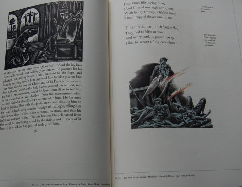 Pages 118-119 - Examples of the Illustration section of the Conspectus, with The Little Flowers of Saint Francis of Assisi (Paolo Molnar, left) and The Rime of the Ancient Mariner (Edward A. Wilson, right).
