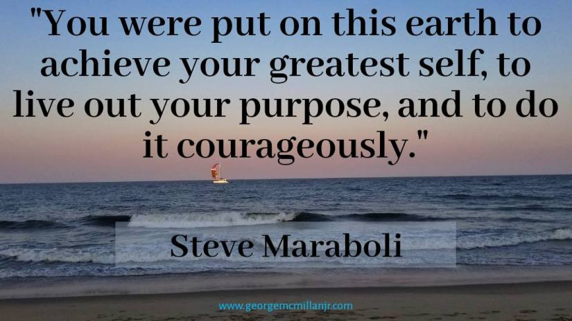 Your purpose is a life of purpose. Live your purpose courageously. Steve Maraboli.