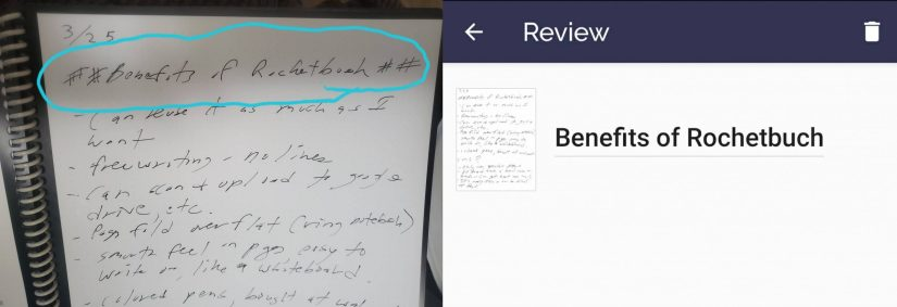Example of Rocketbook Smart Reusable Notebook's title scan feature