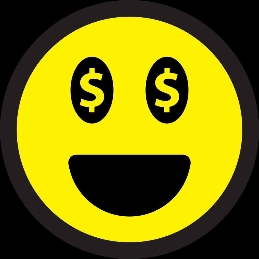 An image of a smiley face with dollar signs for eyes showing abundance. Happy money tips from Ken Honda.
