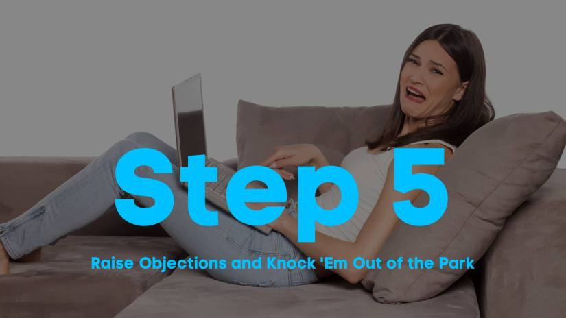 A blog post image of a woman laying on a couch, cringing as she looks away from her laptop. Step 5. Raise Objections and Knock 'Em Out of the Park.