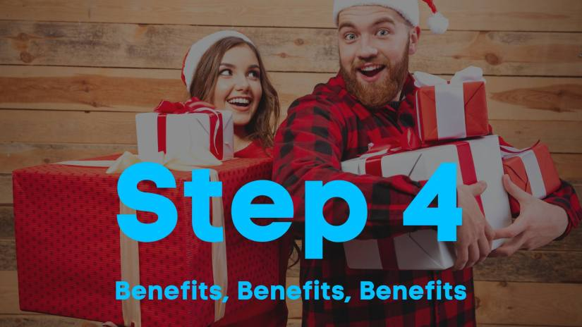 A blog image of a couple wearing red clothes and santa hats, holding gifts in their arms, smiling. Step 4. Benefits, Benefits, Benefits.
