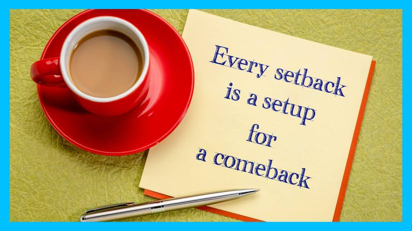 A blog post image of a red coffee cup, a pen, and a card that says every setback is a setup for a comeback.