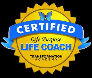 A blue and yellow logo that says, Certified Life Purpose Life Coach from the Transformation Academy.