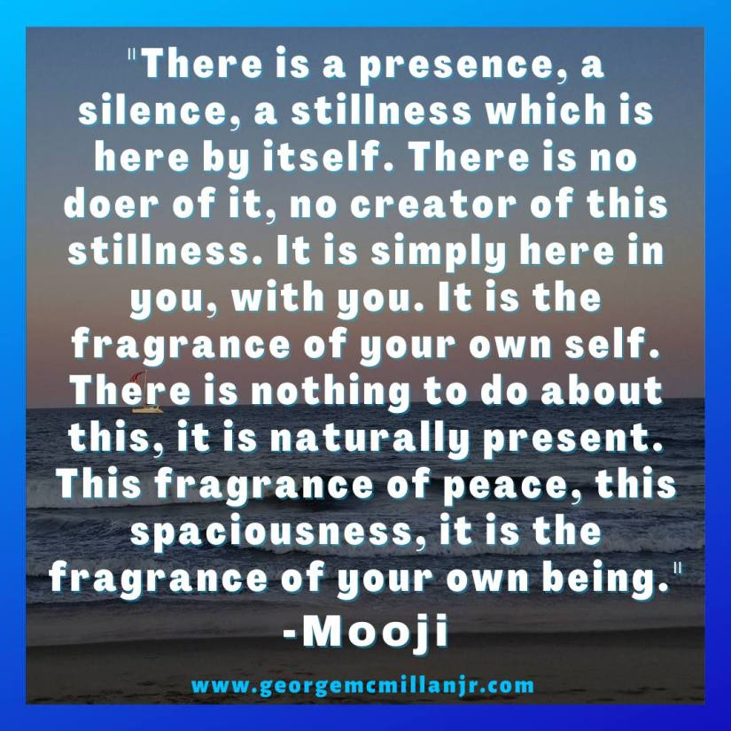 A social media image of an ocean sunset, with a Mooji quote about silence, stillness, presence, and peace.