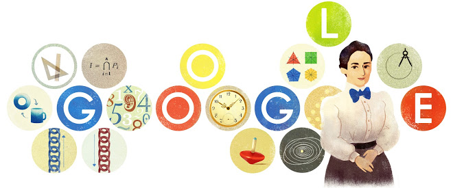 Emmy Noether's 133th birthday google doodle