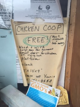 Chicken coop, anyone? These and other ads are found inside the Share-It-Square Station.
