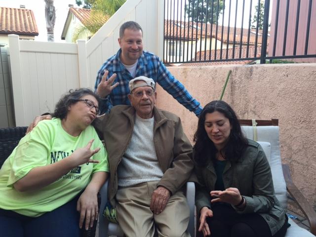 Gangsta Grandpa with grandchildren (from left) Bernie, Austin and Simone.