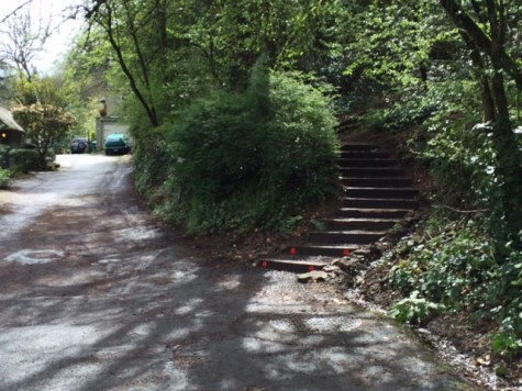 A staircase provides a shortcut from SW 4th Avenue to Terwilliger Boulevard.