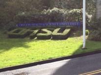 SW Campus Drive winds through the OHSU campus.