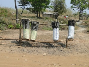 Bundles of locally produced charcoal for sale along the road side