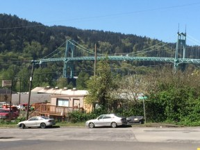 Even in nondescipt industrial areas, the St. Johns Bridge appears as a thing of beauty.