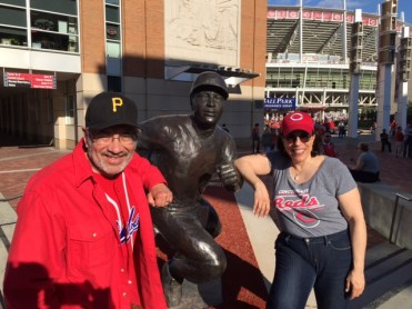 George and Anne flank a statue of Reds great Joe Morgan, arguably the greatest second baseman of all time.