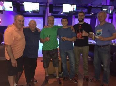 Taking a break at Grand Central Bowl: Jim, Bob, George, Jordan, Vaughn and Eric.